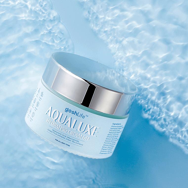 AquaLuxe Moisturizer jar blue water
